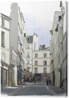 Quadro su Tela Strada vicino a Montmartre a Parigi