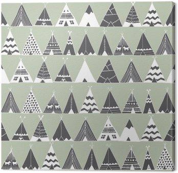 Quadro su Tela Teepee nativo americano tenda estate illustrazione.