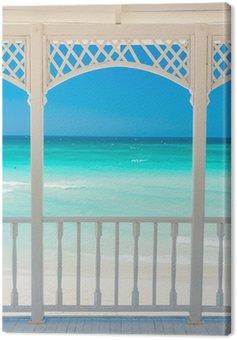 Quadro su Tela Terrazza in legno con una vista di una spiaggia tropicale a Cuba