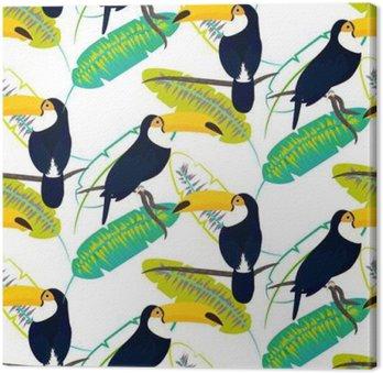 Quadro su Tela Toco tucano uccello su foglie di banano modello vettoriale senza soluzione di continuità su sfondo bianco. foglio giungla tropicale e uccelli esotici seduto sul ramo.
