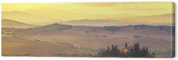 Quadro su Tela Toscana paesaggio autunnale, i colori retrò, annata