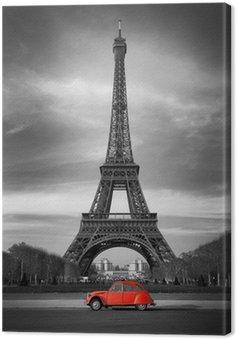 Quadro su Tela Tour Eiffel et voiture rouge-Parigi
