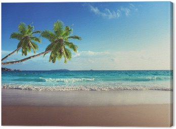 Quadro su Tela Tramonto sulla spiaggia di Seychelles