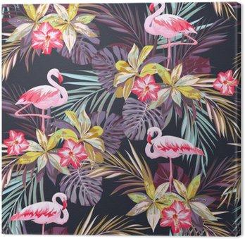 Quadro su Tela Tropical seamless estate con gli uccelli e piante esotiche fenicottero