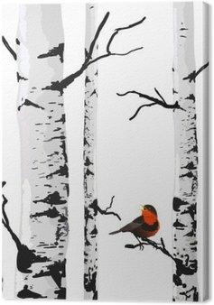 Quadro su Tela Uccello di betulle, disegno vettoriale con elementi modificabili.
