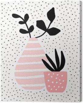 Quadro su Tela Vaso rosa e Pentola con piante