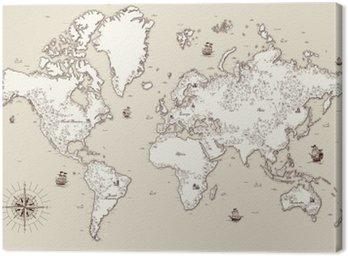 Quadro su Tela Vecchio mappa dettagliata alta al mondo con elementi decorativi