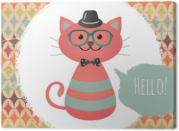 Quadro su Tela Vector Hipster Cat design illustrazione biglietto di auguri