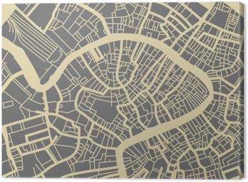 Quadro su Tela Venezia mappa vettoriale. Bianco e nero di base vintage design per carta di viaggio, la pubblicità, regalo o poster.