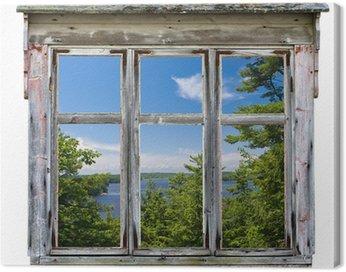 Quadro su Tela Vista panoramica visto attraverso una struttura vecchia finestra