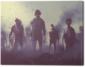 Quadro su Tela Zombie folla che cammina di notte, concetto halloween, illustrazione pittura