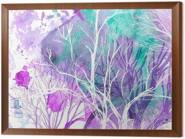 Quadro com Moldura Abstract silhouette of trees