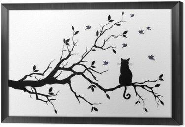 Quadro com Moldura Gato em uma árvore com pássaros, vetor
