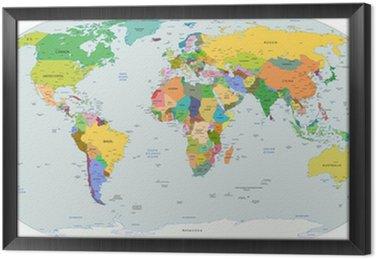 Quadro com Moldura Global political map of the world, vector