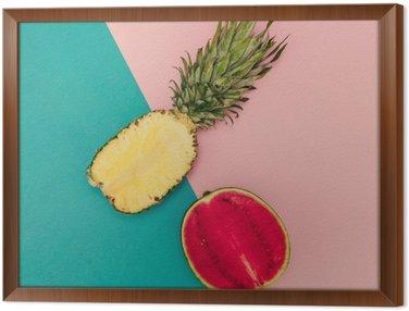Quadro com Moldura Mix Tropical. Abacaxi e melancia. Estilo minimal