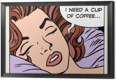 Quadro com Moldura Mulher sonha copo de café da manhã