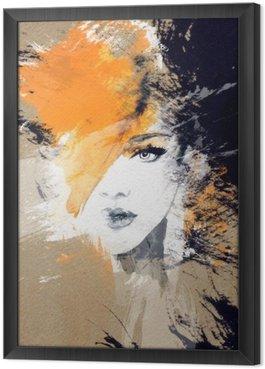 Quadro com Moldura Retrato da mulher. aquarela abstrata. fundo moda
