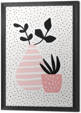 Quadro com Moldura Rosa Vaso e pote com plantas