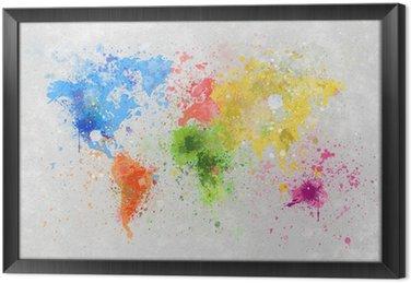 Quadro com Moldura world map painting
