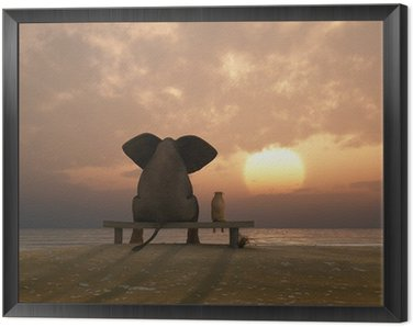 Quadro em Moldura elephant and dog sit on a summer beach