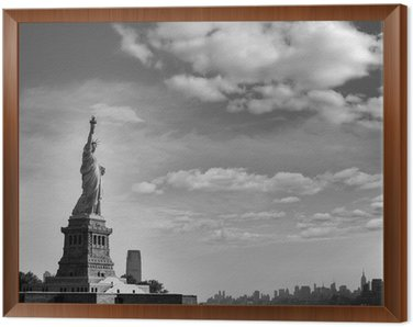 Quadro em Moldura Estátua da Liberdade Nova Iorque e Manhattan EUA