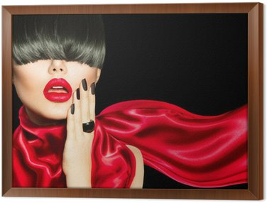 Quadro em Moldura High Fashion Girl with Trendy Hairstyle, Makeup and Manicure