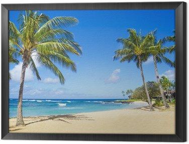 Quadro em Moldura Palm trees on the sandy beach in Hawaii