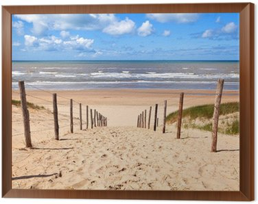 Quadro em Moldura path to sandy beach by North sea