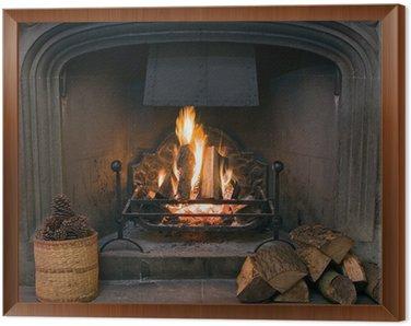 Quadro em Moldura Stone fireplace with a lit roaring fire