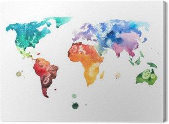 Quadro em Tela Aguarela desenhada mão ilustração mapa mundo aquarelle.