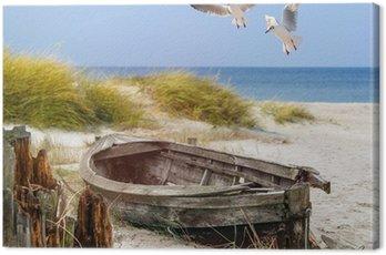 Quadro em Tela altes Fischerboot, Möwen, Strand und Meer