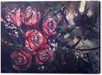 Quadro em Tela Aquarela rosas estilo da pintura da arte abstracta.
