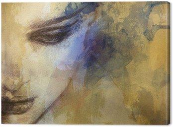 Quadro em Tela Beautiful woman face. watercolor illustration