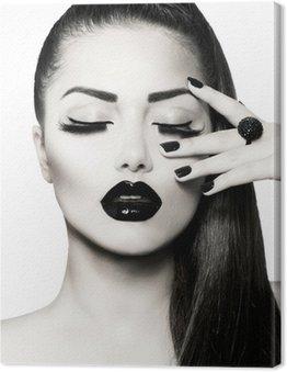 Quadro em Tela Black and White Brunette Girl Portrait. Trendy Caviar Manicure