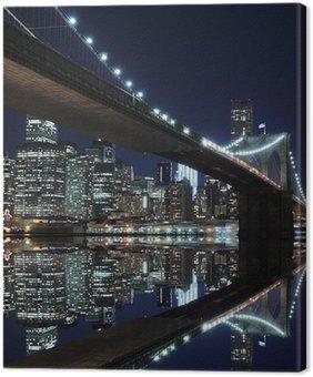 Quadro em Tela Brooklyn Bridge and Manhattan Skyline At Night, New York City