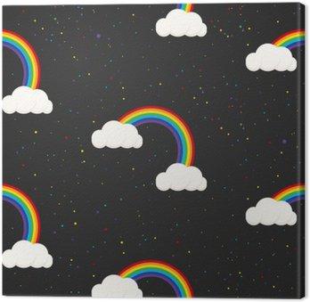 Quadro em Tela Céu nocturno da fantasia garoto padrão sem emenda. Estrelas confetti, nuvens e menino do arco-íris papel de parede cinzento e design de tecido.