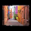 Quadro em Tela Colorful street in Burano, near Venice, Italy