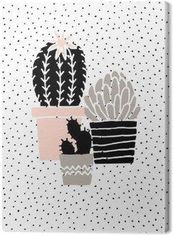 Quadro em Tela Desenhado Mão Poster Cactus
