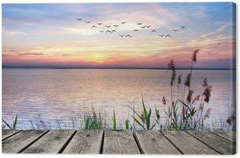 Quadro em Tela el lago de las nubes de colores