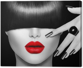 Quadro em Tela Fashion Model Girl with Trendy Hairstyle, Makeup and Manicure