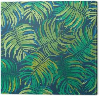 Quadro em Tela Folhas de palmeira Tropic Seamless Vector Pattern