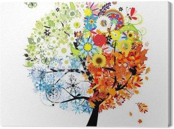 Quadro em Tela Four seasons - spring, summer, autumn, winter. Art tree