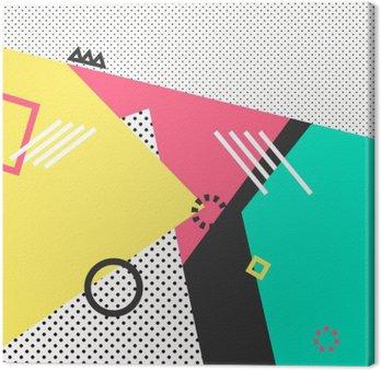 Quadro em Tela Geométricas cartões elementos Memphis na moda. Textura retro, padrão e elementos geométricos. poster abstrato moderno design, cobrir, design de cartão.