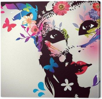 Quadro em Tela Girl with mask/Vector illustration