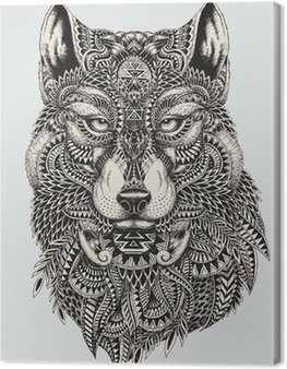 Quadro em Tela Highly detailed abstract wolf illustration