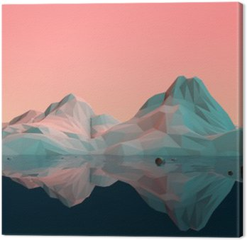 Quadro em Tela Low-Poly paisagem da montanha 3D com Água e Reflexão