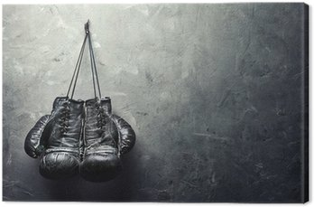 Quadro em Tela Luvas de boxe velhos pendurar em prego na parede textura