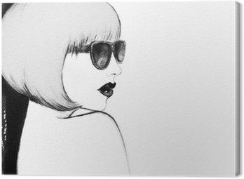 Quadro em Tela Mulher com óculos. ilustração da aguarela