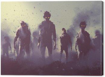 Quadro em Tela Multidão de zumbis andando à noite, conceito de Halloween, pintura ilustração
