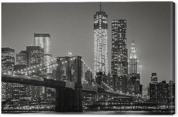 Quadro em Tela New York by night. Brooklyn Bridge, Lower Manhattan – Black an